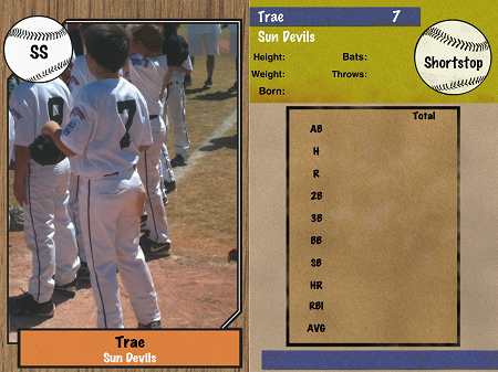 double sided youth sports trading card